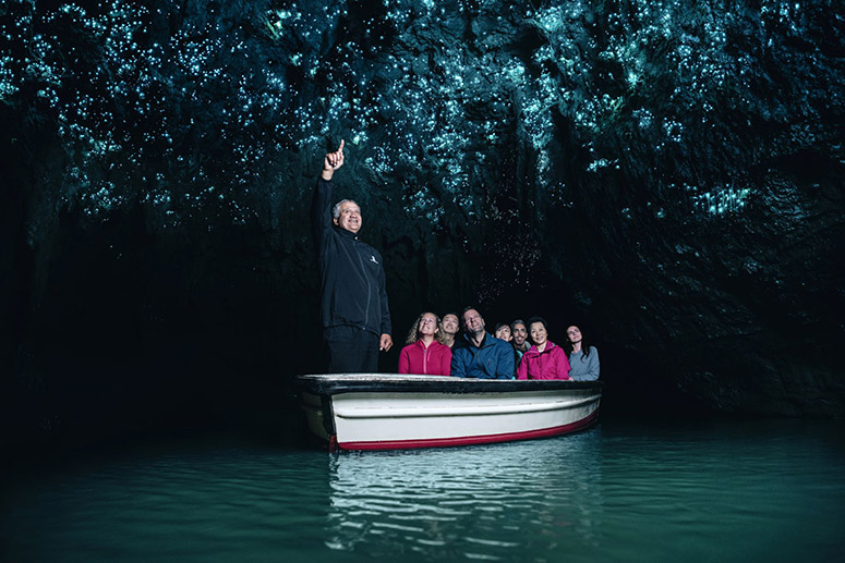 Waitomo Caves boat tour guide pointing out glowworms to visitors