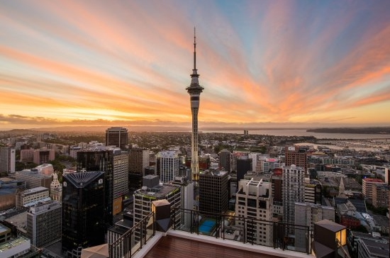 View of the Sky Tower against the skyline of Auckland, New Zealand
