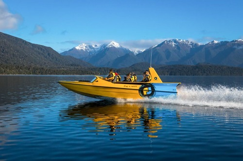Jet boat on water at Te Anau