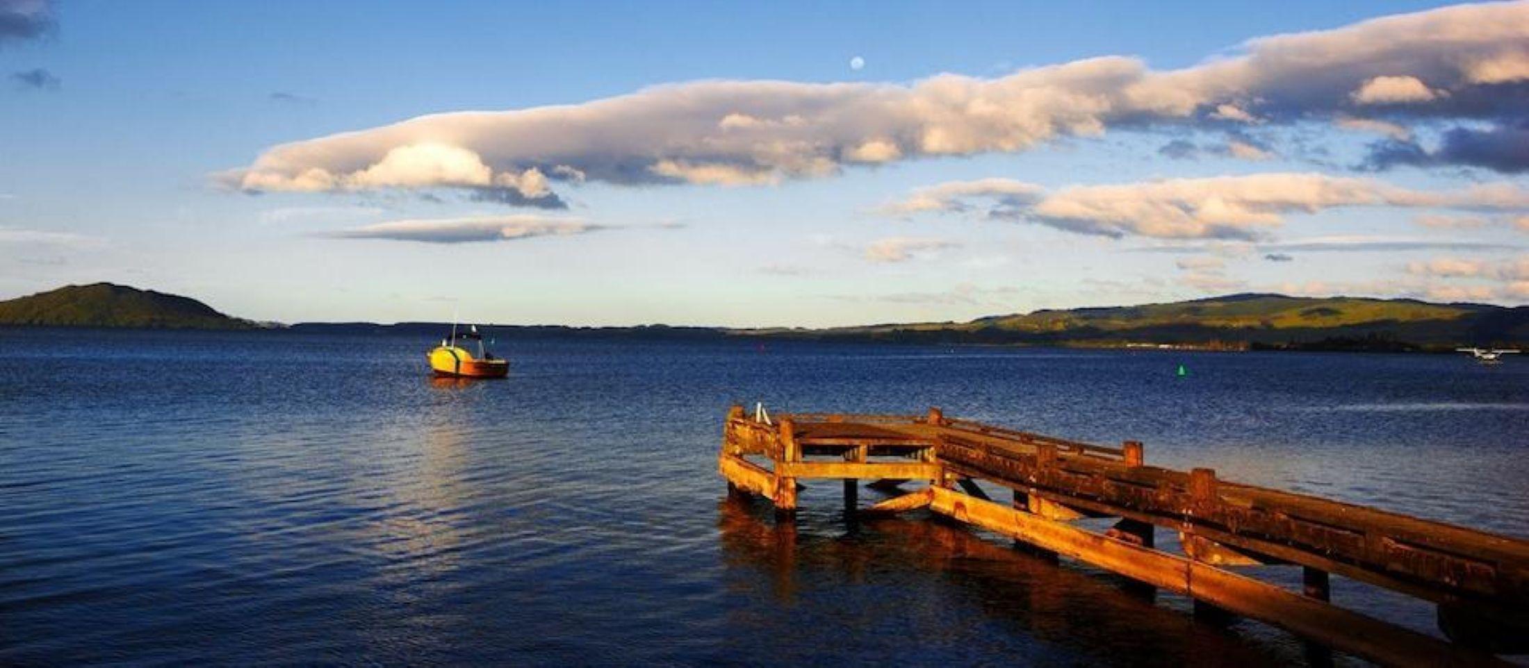 View of a pier on Lake Rotorua