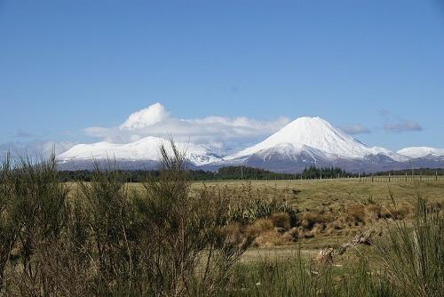 Snow covered mountains at Tongariro Alpine Crossing, Taupo, New Zealand