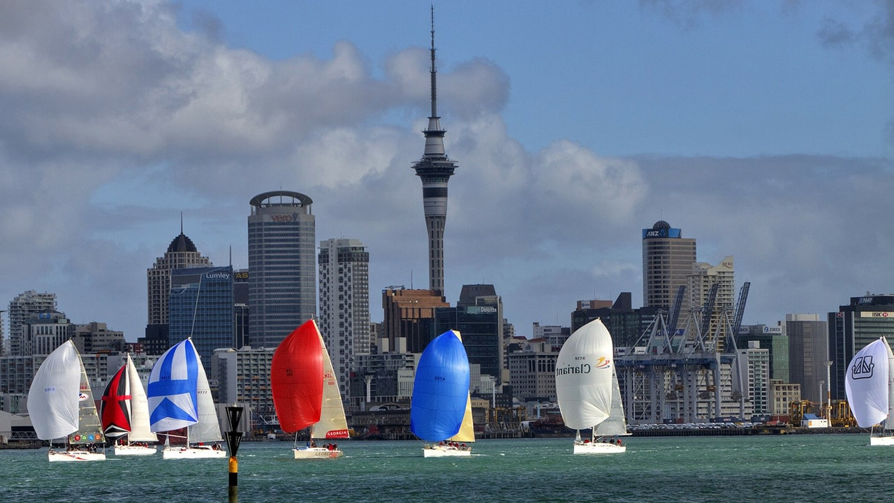 Colourful sailboats in a harbour
